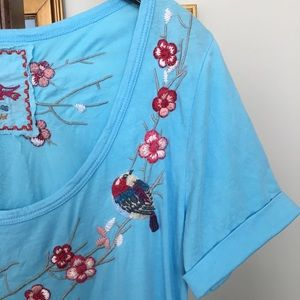 Johnny Was JWLA Blue T-shirt Tunic size S